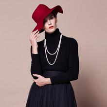 金兔 平板两翻领女套衫 C22246 黑色 XL/100