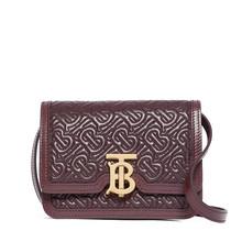 (预售)Burberry/巴宝莉 TB专属标识绗缝羔羊皮锁扣包迷你 17x6x12.5 酒红色
